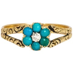 Mid-19th Century Turquoise and Diamond 15 Carat Cluster Ring