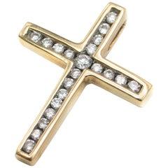 Bespoke 0.25 Carat Diamond Gold Cross Pendant