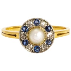 Edwardian Pearl, Diamond and Sapphire 18 Carat Gold Ring