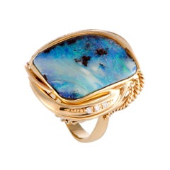 Diamond and Rectangular Opal Yellow Gold Cocktail Ring