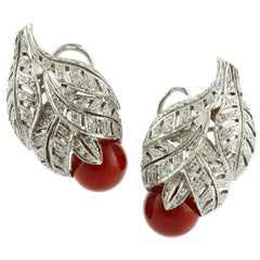 Red Coral Spheres, White Diamonds, Platinum Clip-on Earrings