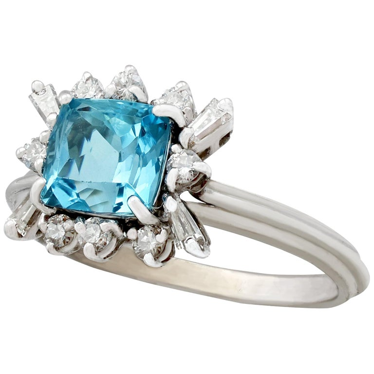 Vintage 1.77 Carat Aquamarine Diamond White Gold Cocktail Ring For Sale