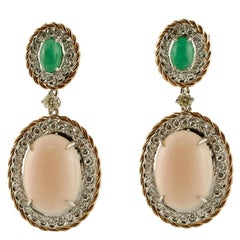 Diamonds, Emeralds, Angel Skin Pink Coral, 14 Karat Rose and White Gold Earrings