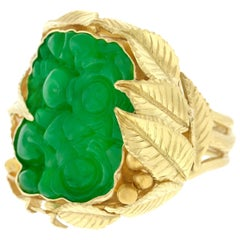 Antique Carved Jade in a One-of-a-Kind Gold Ring