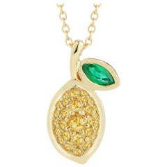 Yellow Sapphire and Emerald Lemon Necklace