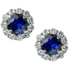2.55 Carat Royal Blue Sapphire and 1.25 Carat Diamond Studs in 14k White Gold