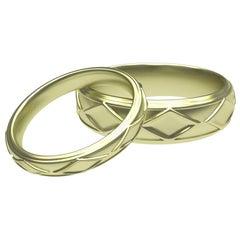 18 Karat Green Gold Wedding Band Set