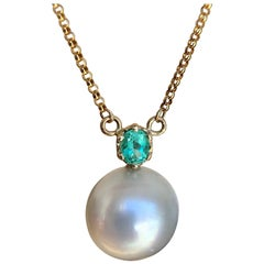 Estate Emerald South Sea Pearl Pendant Necklace 18 Karat