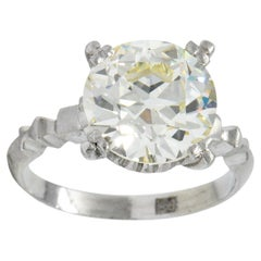 Retro 3.47 Carat Diamond Platinum Engagement Ring GIA