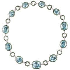 90.84 Carat Blue Topaz 9.00 Carat Tsavorite 2.25 Carat Diamond Necklace