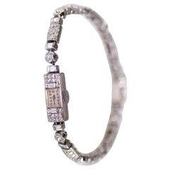 Jaeger-LeCoultre Ladies Platinum Diamond Set Bracelet Wristwatch