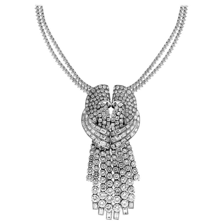 Diamond Pendant with Double Diamond Tennis Necklace For Sale