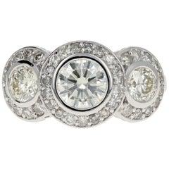 14 Karat White Gold 2.45 Carat 3-Stone Diamond Halo Ring