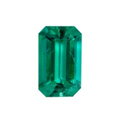 Natural Colombian Emerald Ring Emerald Cut 2.17 Carats AGL Certified Untreated