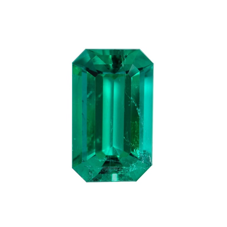 Natural Colombian Emerald Ring Emerald Cut 2.17 Carats AGL Certified Untreated For Sale