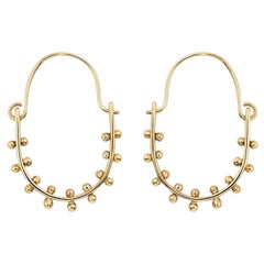 M. Hisae Drop Hoop Earrings with Hinge