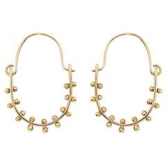 M. Hisae Handmade 14 Karat Gold Beaded Drop Hoop Earrings with Hinge Closure