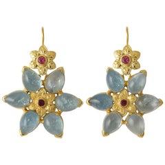 Emma Chapman Aquamarine Tourmaline Gold Plate Statement Earrings