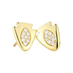 18 Karat Pavé Diamond Arrowhead Stud Earrings