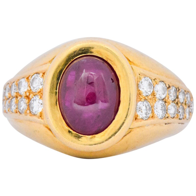 Cartier French 3.40 Carat Ruby Diamond 18 Karat Yellow Gold Ring For Sale