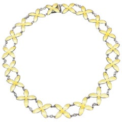 Bernard Meldahl Norway Gilt Sterling Silver Yellow Enamel Necklace