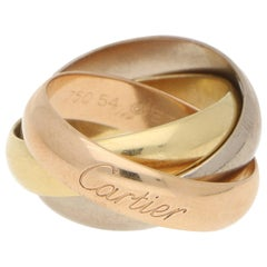 Cartier Three Band Trinity Ring 18 Karat Rose, Yellow, and White Gold