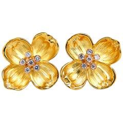 .40 Carat Natural Diamond Floral Clover Petals Clip Earrings 14 Karat