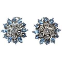 Topaz and Diamond Platinum Blossom Earclips