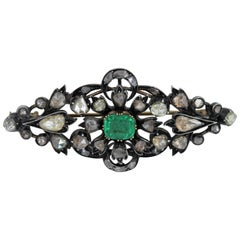 Vintage Turn of the Century Diamond and Emerald Brooch with Rose Cut Old Mine
