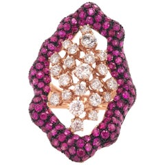 Ruchi New York Ruby and Diamond Cocktail Ring