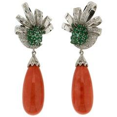 Coral 18 Karat White Gold Diamonds Emeralds Drop Earrings