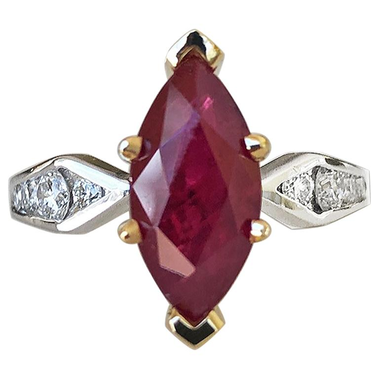 Marquise Natural Ruby with Diamond Engagement Ring Platinum & 18K For Sale