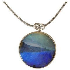 Dalben Design Sea Landscape Australian Boulder Opal and White Gold Necklace