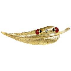 .15 Carat Natural Diamond Lady Bug Racing Feather Brooch 18 Karat