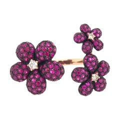 Ruchi New York Flower Ruby and Diamond Ring
