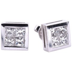 14 Karat White Gold Quadset Diamond Stud Earrings