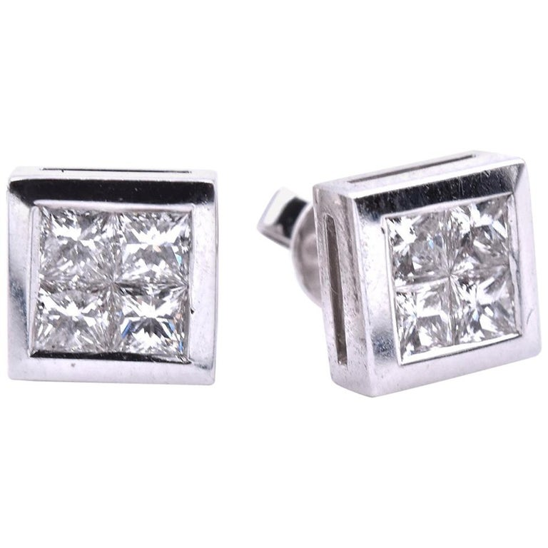 14 Karat White Gold Quadset Diamond Stud Earrings For Sale