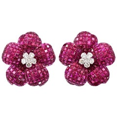 "Burmese Ruby ""Mystery Set"" Diamond Gold Earrings"