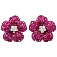 "Burmese Ruby ""Mystery Set"" Diamond Gold Earrings"