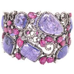 Ruchi New York Contemporary Slice Tanzanite, Ruby and Diamond Bracelet