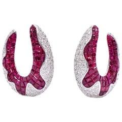 Diamond and Invisible Set Burmese Ruby Earrings