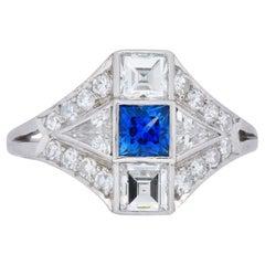 Art Deco 1.70 Carat Sapphire Diamond Platinum Ring