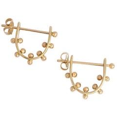 M. Hisae Handmade 14karat Gold Beaded Ear Hugger 14 Karat Gold Hoop Earrings