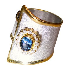 Yianni Creations 1.00 Topaz and Diamond Rosette Silver and 24 Karat Gold Ring