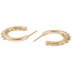 M. Hisae Handmade Beaded 14 Karat Gold Small Hoop Earrings
