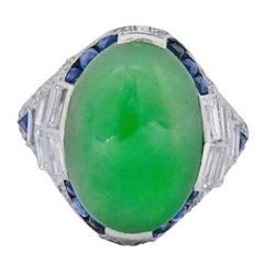 Art Deco 3.85 Carat Jadeite Diamond Sapphire Platinum Ring GIA