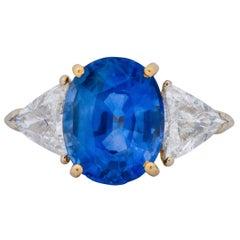 1980s 6.80 Carat Ceylon Sapphire Diamond 18 Karat Gold Ring GIA