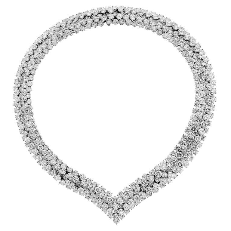Diamond Platinum Choker Necklace Bracelet For Sale