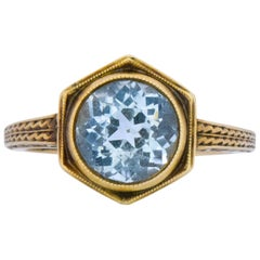 Edwardian 2.50 Carat Aquamarine 14 Karat Gold Ring