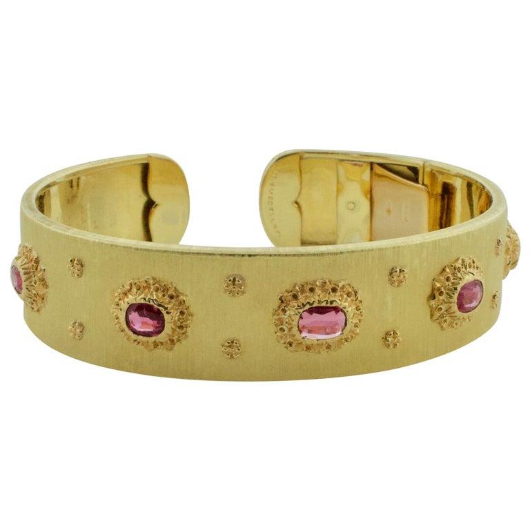 Mario Buccellati Ruby Bangle Bracelet in 18 Karat Yellow Gold For Sale